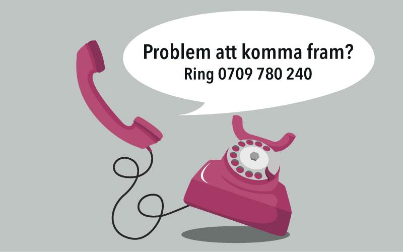 Fel på vår växeltelefon – ring 0709 780 240